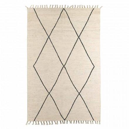 Obývací pokoj koberec z vlny a bavlny s moderním geometrickým designem - Metria