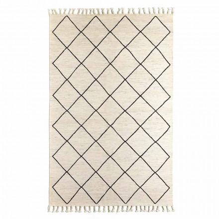 Moderní koberec do obývacího pokoje s geometrickým vzorem z vlny a bavlny - Metria