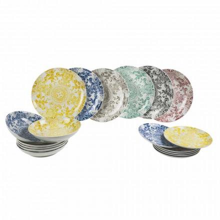 Porcelánový barevný stůl 18 kusů - Pizzotto