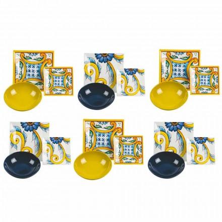 Elegantní barevný setový stůl, porcelán a kamenina 18 kusů - dlaždice