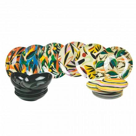 Stolní servis z porcelánu a barevného kameniny 18 kusů - tequila