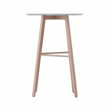 Vysoký nebo nízký konferenční stolek z dubového dřeva a bílé desky - langustin