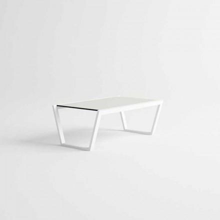 Nízký design zahradní konferenční stolek z bílého hliníku - Louisiana3