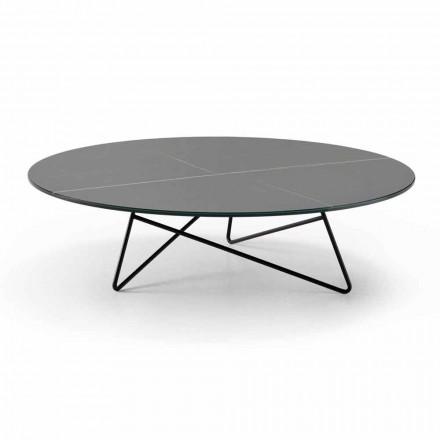 Kulatý konferenční stolek do obývacího pokoje z kovu a skla s efektem luxusního mramoru - Magali