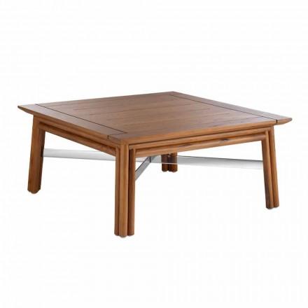 Nízký čtvercový konferenční stolek pro venkovní obývací pokoj z přírodního nebo černého dřeva - Suzana