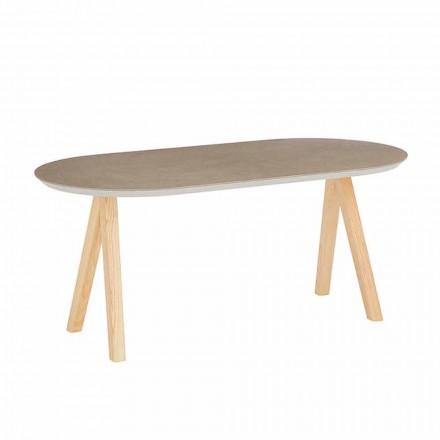 Konferenční stolek v keramickém a přírodním dřevě, moderní oválný design - Amerigo