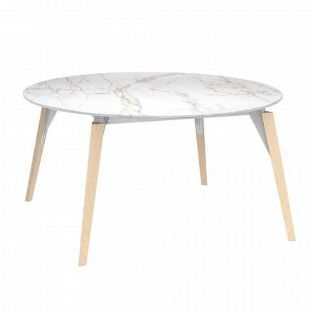 Kulatý konferenční stolek s mramorovým efektem, 3 barvy, 2 velikosti - dřevo Faz od Vondom