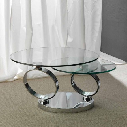 Stolek s dvěma kulatými vršky pohyblivý synchronizované sklo Chieti