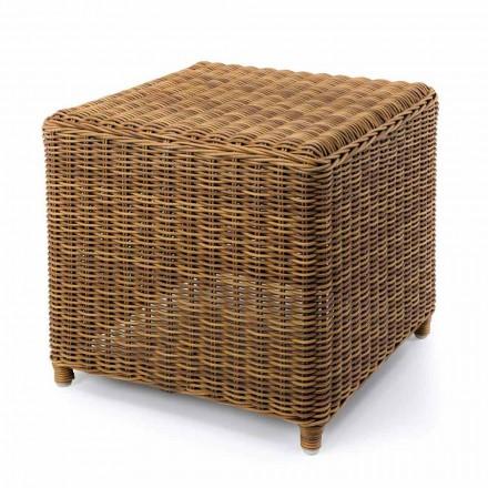Vysoký zahradní stolek z tkaného syntetického ratanu - Yves