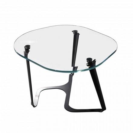 Ručně vyrobený konferenční stolek ze skla a oceli vyrobený v Itálii - Marbello