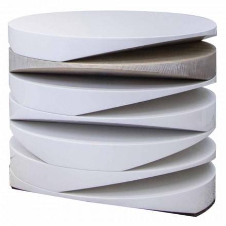 Konferenční stolek v bílém mramoru s travertinovou vložkou vyrobený v Itálii - Vita
