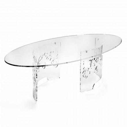Konferenční stolek z uzeného nebo průhledného plexiskla se zdobeným podstavcem - Crassus