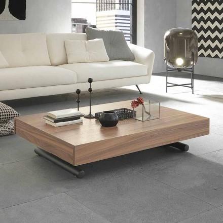 Moderní transformační konferenční stolek ze dřeva a kovu vyrobený v Itálii - Fabio
