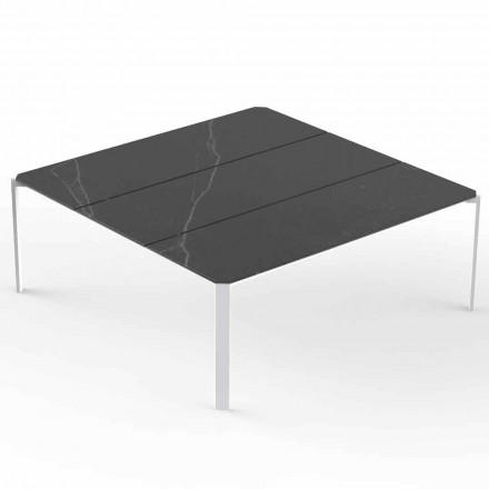 Čtvercový zahradní konferenční stolek, mramorový efekt - tablet od společnosti Vondom