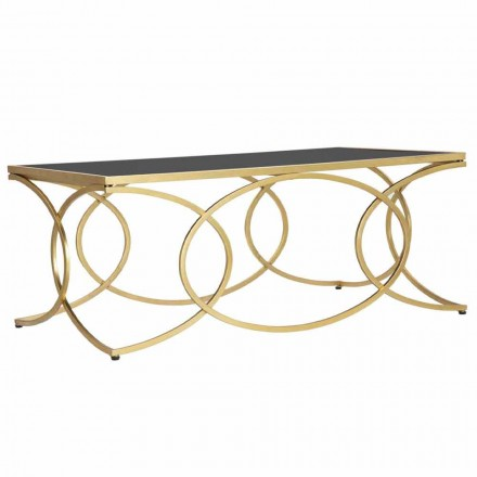 Obdélníkový konferenční stolek v železe a designové zrcadlo - veselost