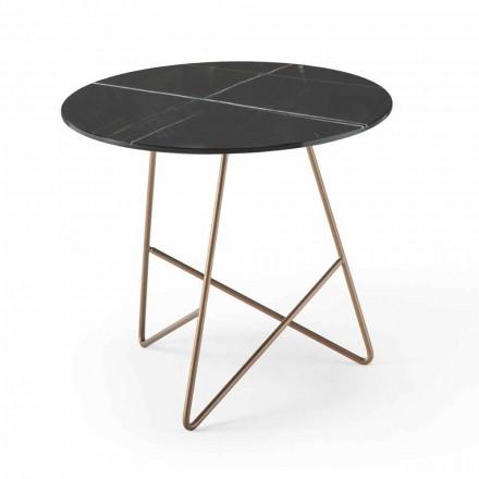 Kulatý konferenční stolek z kovu a luxusního skla z mramoru - Magali