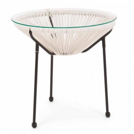 Venkovní ocelový stůl s designovým sklem - Spumolizia