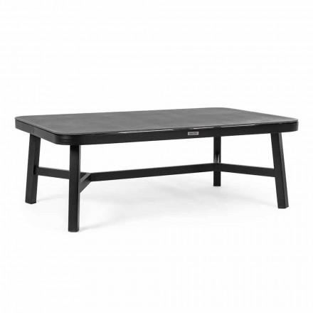 Venkovní stůl z černého hliníku s Homemotion - Morena Glass Top