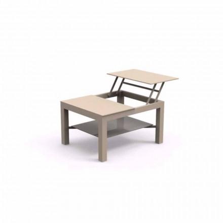 Otevřený zahradní stůl, elegantní skleněná deska s malou obrazovkou