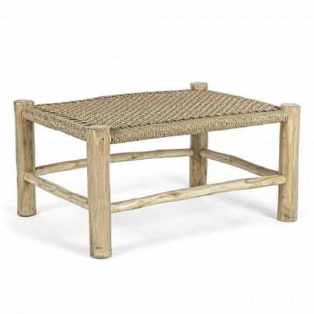 Zahradní konferenční stolek z teakových větví se špičkou z tkaných vláken - Tecno