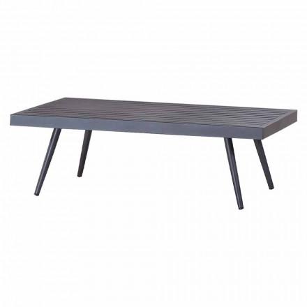 Obdélníkový zahradní konferenční stolek z antracitově lakovaného hliníku - Rasti