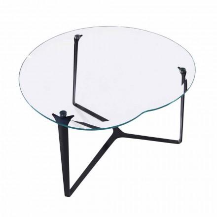 Konferenční stolek, ručně vyrobený, ze skla a oceli vyrobený v Itálii - Alicante
