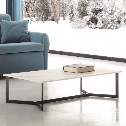 Konferenční stolek s efektem Hpl Top White Marble vyrobený v Itálii - Indio