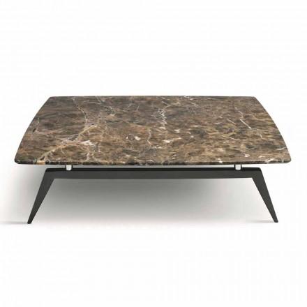 Konferenční stolek s mramorovou deskou a dřevěným podstavcem vyrobený v Itálii - Raise