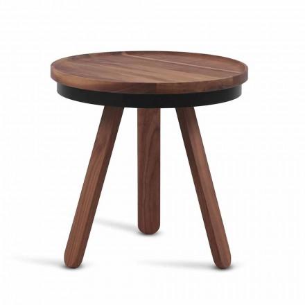Designový konferenční stolek s kulatou deskou a nohama z masivního dřeva - Salerno