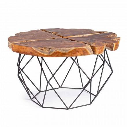 Designový konferenční stolek Homemotion s teakovou deskou - Grillo
