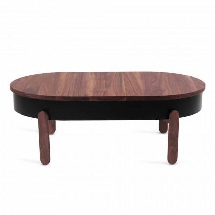 Designový konferenční stolek z masivního dřeva a lakovaného kovu - Salerno