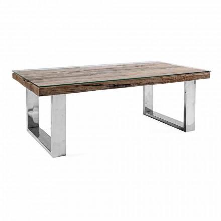 Designový konferenční stolek ze dřeva, skla a oceli Homemotion - Frederic