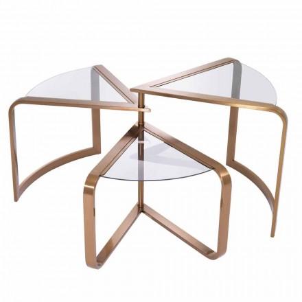 Designový konferenční stolek ve skle s detaily z mědi - Carpi
