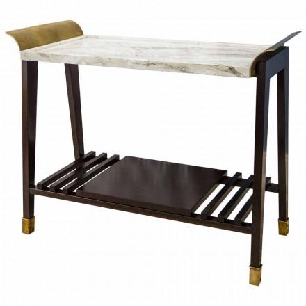 Třešňový, mramorový a mosazný konferenční stolek vyrobený v Itálii - Barto