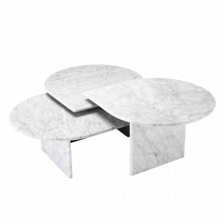 Konferenční stolek v mramorovém formátu White Carrara 3 kusy - Marsala