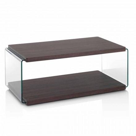 Konferenční stolek z ořechového MDF a průhledného skla ve 2 velikostech - Mindie