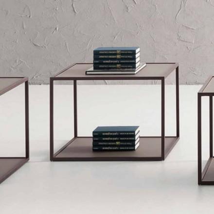 Kovový konferenční stolek s křišťálovou deskou vyrobený v Itálii - Fermio