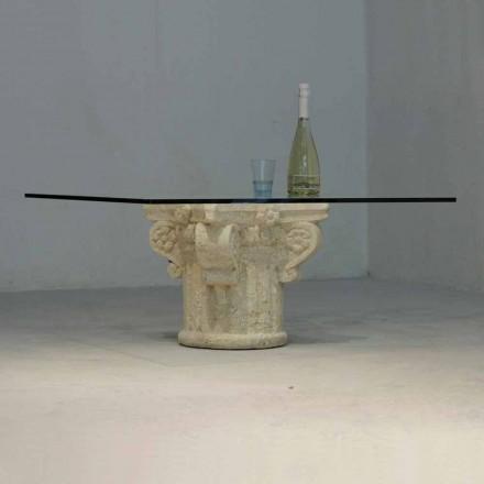Kamenný konferenční stolek Vicenza a ručně vyřezávaný balosový křišťál