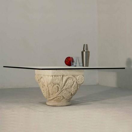 Ručně vyřezávaný stůl v krytu Vicenza Stone a Mytros
