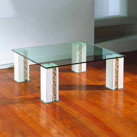 Kamenný konferenční stolek Vicenza a křišťál, ručně vyřezávaný, Milos