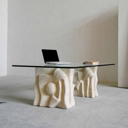 Kamenný konferenční stolek Vicenza a křišťál Priamo-S, ručně vyřezávané