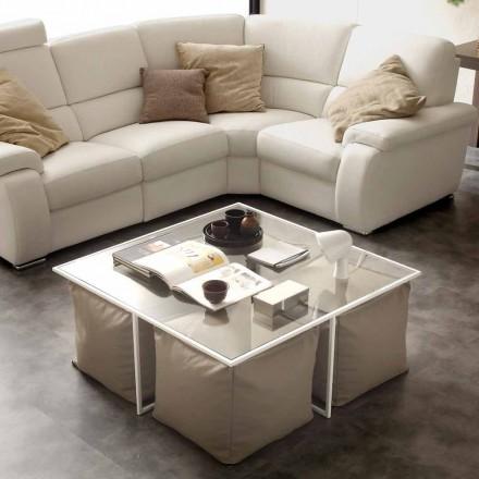 Konferenční stolek sklo obývací pokoj s 4 pohovku v umělé kůži Lula