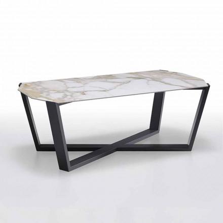Konferenční stolek z kameniny a dřeva, vysoká kvalita vyrobená v Itálii - Titanic