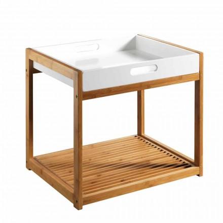 Moderní konferenční stolek z bambusového dřeva s bílým podnosem z mdf - volly