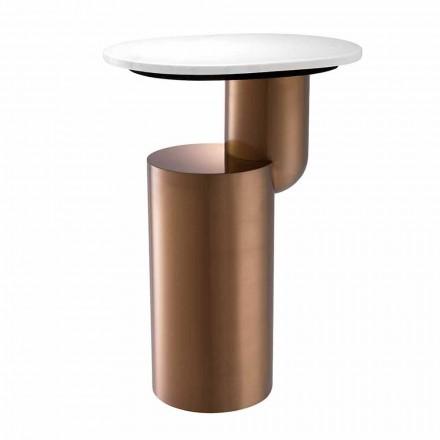 Moderní konferenční stolek v bílém mramoru s měděným povrchem - Cosenza