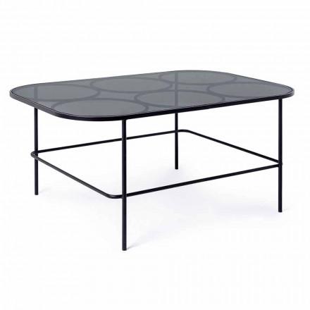 Moderní konferenční stolek Homemotion ze skla a lakované oceli - Rondino