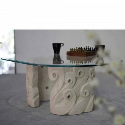 Oválný konferenční stolek v kamenném a křišťálovém skle Vicenza, ručně vytesaný Lindos