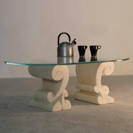 Oválný konferenční stolek ručně vyřezávaný Vicenza kámen a krystal Aracne-S