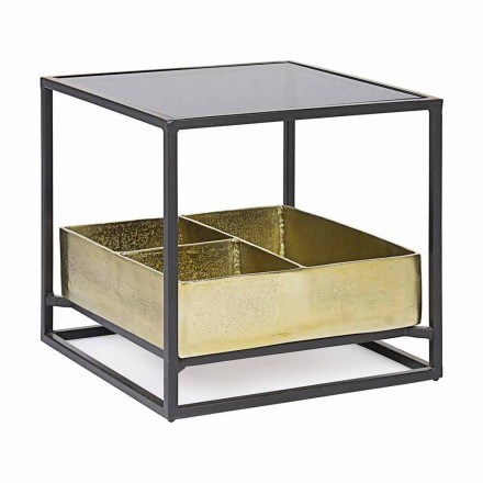 Čtvercový konferenční stolek Homemotion se skleněnou deskou - Sigismondo