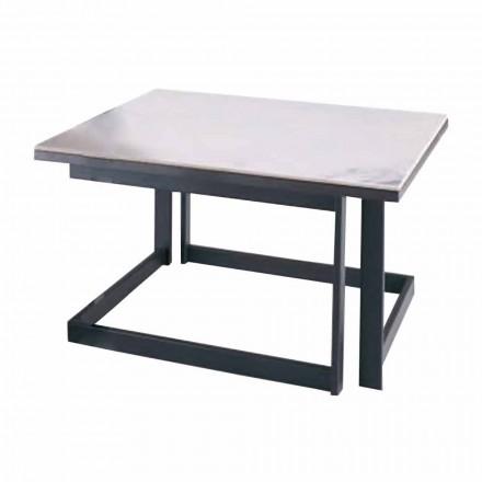 Čtvercový konferenční stolek v Gresu s kovovou základnou vyrobené v Itálii - Albert